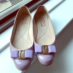 Lavender Ferragamo flats. Used. No box or dust bag